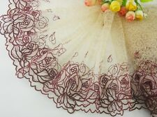 "8""*1yard delicate embroidered flower tulle lace trim DIY 0391"