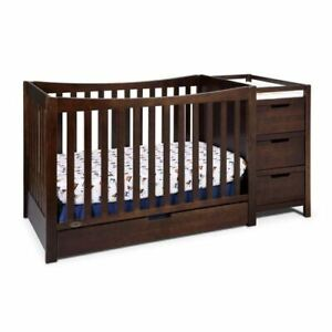 Graco Remi 4-in-1 Convertible Crib and Changer with Drawer, Espresso