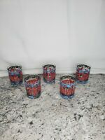 5 Vintage Cera Houze Rocks Merry Christmas Stained Glass Glasses Tumblers