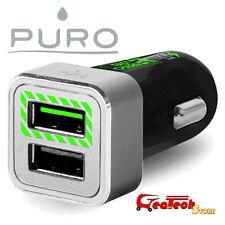 Puro Mini CaricaBatterie Auto 2.4A 12W 2 USB Fast Charger Per Huawei P10 NERO