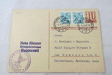 pc Switzerland Schweiz U.S. Civil Censorship Rapperswil Helvetia 1947 Zensur