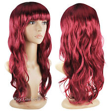 Womens Ladies Long Wavy Curly Fancy Dress Cosplay Wigs Pop Party Costume Black Red