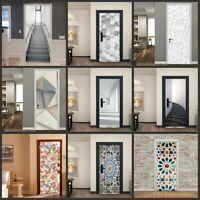 Lots 3D Self-Adhesive Door Sticker Living Room Door Murals Wall Sticker Decor
