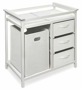 Badger Basket Modern Baby Changing Table with Hamper and 3 Baskets, White, Inclu