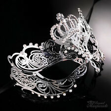 Luxury Crown Metal Venetian Masquerade Mask for Women M7164 [Silver]