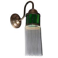 Wandlampe Wandleuchter Art Deco Messing Glas Jugendstil Lampe Glamour Antik