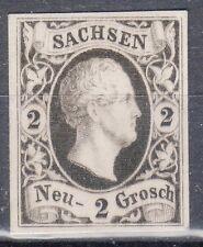 Saxony, Sc#6, VF NG, 2 Ngr Black Proof on White card, Mi#5P4, *RARE*