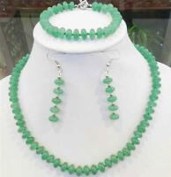 5x8mm Green Natural Emerald Rondelle Beads Necklace Bracelets Earrings Set