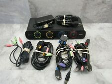 Belkin OmniView 4 Port Soho Kvm Switch + Audio F1Ds104J w/ Cables.