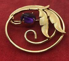 Vintage Fashion Pin Brooch Glass Amethyst Flower Gold Tone