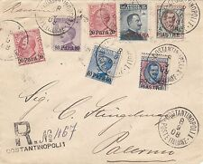 ITALIAN LEVANT 1908 TURKEY MULTI FRANKING REGISTERED COVER CONSTANTINOPLE-PALERM