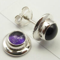 Sterling Silver Real Purple Amethyst Studs Earrings Made In India