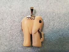 Adorable Vintage Ox Leg Carved & 18K Yellow Gold ELEPHANT Figurine Pendant