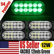 4X12W CREE Bulb 12LEDS Green Car Flash Emergency Hazard Warning Strobe Light Bar