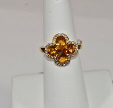 Citrine and Diamond Flower Ring in 18K Yellow Gold
