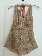 NWT The Limited Woman's 100% Silk Halter Top - Brown Pattern - Size Medium
