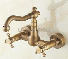 Antique Brass Wall Mount Swivel Bathroom Kitchen Sink Faucet Mixer Tap Usf006