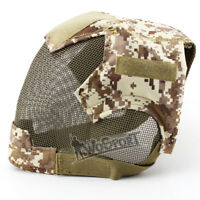 V6 Steel Mesh Outdoor Paintball Airsoft Tactical Full Face Mask can wear Goggles