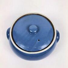 Vintage UHL Blue Pottery Stoneware Covered Casserole Round Dish Hunningburg Ind