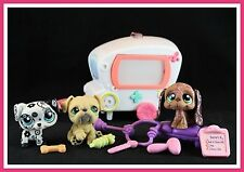 Littlest Pet Shop Dalmatian Dog #1613 Bulldog #107 Basset #1358 Ambulance Vet