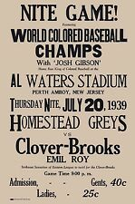 1939 NEGRO LEAGUE GAME POSTER WITH JOSH GIBSON BASEBALL LEGEND 8X10 PHOTO
