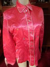 MEDIUM True Vtg 80s HOT PINK SATIN FRINGED RODEO Snap Western Shirt TOP Womens