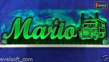 "Großes LED LKW Leuchtschild Truck ""Mario"" o. Wunschname 12/24V grün ©faunz"
