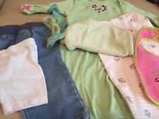 Gerber Baby Clothes 0-9 Mo. 7+ Pieces Jeans Pants Sleeper Bib Burp Cloth Shorts