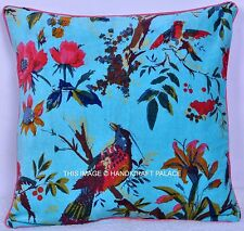 Indian Turquoise Velvet Pillow Case Bird Reversible Throw Floor Cushion Cover