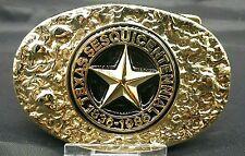 """NEW Texas Sesquicentennial 1836-1986 Belt BUCKLE 3 1/2"""" Oval Gold & Black Metal"""