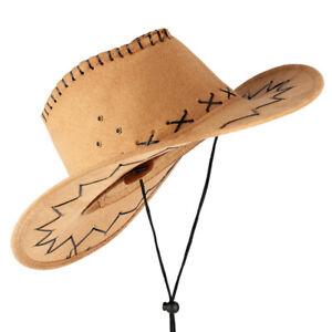 New Adult Western Cowboy Hat Wide Brim Cowgirl Sun Hats Unisex Fedora Cap Sport