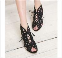 Womens Hollow Out Lace Up Summer Mid Heels Wedge Peep Toe Shoes Sandals Gothic