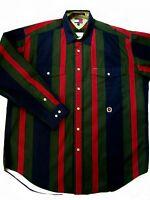 VINTAGE EUC Tommy Hilfiger Mens L 90's Color Block Striped Cotton Shirt L/S
