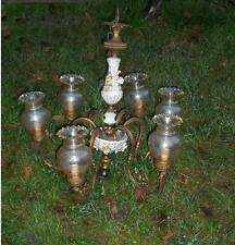 Grande antico lampadario bronzo ampolle fiori 6 luci ceramica stile post liberty