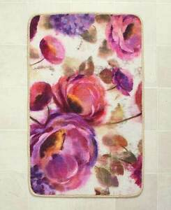 Watercolor Floral Bath Rug Pink Rose Purple Hydrangeas Spring Blooms Bath Mat