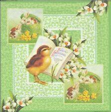 2 Serviettes en papier Poussin Pâques Decoupage Paper Napkins Easter Grettings