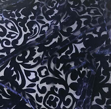 """Hand Dyed Burnout Silk VELVET Fabric MIDNIGHT BLUE SCROLL 9""""x22"""" remnant"""