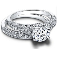1.35Ct Diamond Engagement Wedding Ring Set 14k White Gold Round Cut VVS1/D Sizes