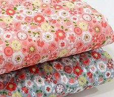 Flowers Cotton blend Ready quilted Fabric Pre-quilted Floral Pink Grey (HQ01<