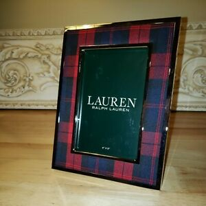"""RALPH LAUREN SILVER PLAID CHECK RED NAVY PHOTO PICTURE FRAME 4"""" X 6"""" 2019"""