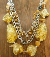 "Vintage Lucite Multi Strand Crackle Amber Brown Asymmetrical Chip 18"" Necklace"