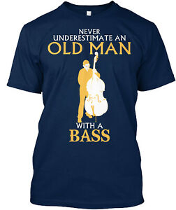 Old Man With A Bass Classic T-Shirt - 100% Cotton By Sohddesigner