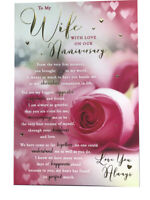 To My Wife With Love Pink Rose & Hearts Sentiments Anniversary Card Lovely Verse