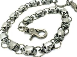 New 15 Skulls Silver Metal Jeans Wallet Key Chain Motorcycle Biker Trucker