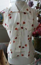 Vintage Rockabilly 50S orange Strawberry Dee Cee shirt sleeveless Nwt Size 34