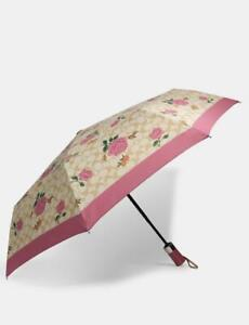 BRAND NEW COACH SIGNATURE MINI UMBRELLA WITH PINK FLORAL PRINT (STYLE 1307)
