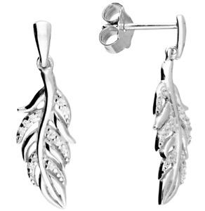 SILVER DROP EARRING 925 STERLING SILVER DIAMOND FEATHER DANGLE STUD BUTTERFLY