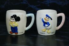 VTG WALT DISNEY PRODUCTIONS MICKEY MOUSE & DONALD DUCK PORCELAIN CUPS MUGS SET 2