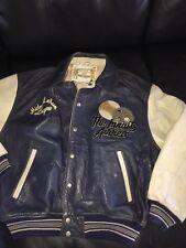 Vintage Avirex Leather Letterman Varsity Bomber Jacket Baseball 1990's Sz Large