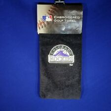"Colorado Rockies Black Golf Towel - Tri-Fold Embroidered - 15"" x 25"" - MLB"